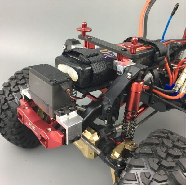 KYX Bandeja de Batería y Soporte Servo dDelantero para Traxxas TRX-4 (Negro)