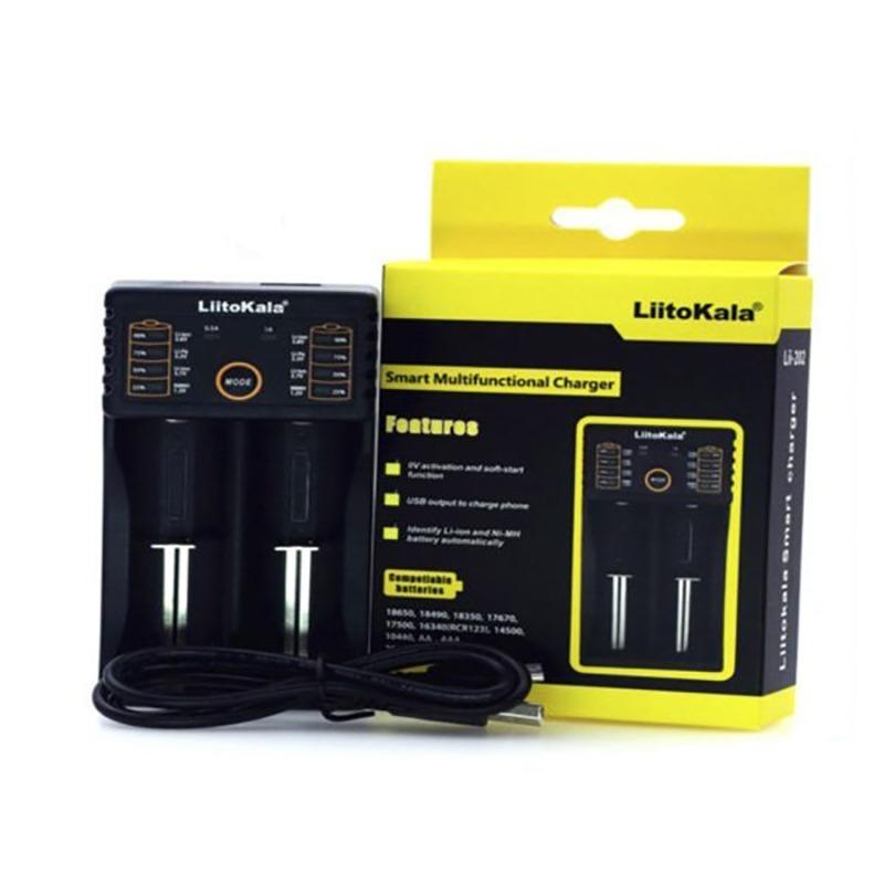 Liitokala Lii-202 18650 Cargador Inteligente Cable USB / Negro