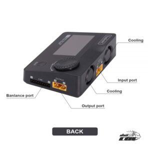 Cargador de batería Verificador de celdas Servo Tester PWM, PPM.SBUS Receptor de entrada / salida y comprobador de control de vuelo Fuente de alimentación de CC amperio / voltio viable (entrada de CC externa requerida) Soporte de gestión de carga, descarga y balance LiPo, LiHV, LiFe 1-8S, NiMh 1-20S, PB 1-12S batería. Cargador de corriente: MAX 15A @ 300W Corriente de descarga: modo de reciclaje 15A a 300W Normal: 3A a 20W Balance de corriente: 400mA @ 2-8S Se puede ajustar el voltaje de corte de la batería de litio (función TVC) Medir voltaje de batería, resistencia interna, balance Medidor de potencia ESC, junto con tensión de salida y señal de aceleración. Mida los valores de señal PWM / PPM / xBUS, precisión 1ms Salida de señal estándar PWM / PPM / xBUS, precisión 1ms Voltaje constante personalizable 5-30V, corriente constante 1-15A Carga la batería del dron, activa y carga. Multi-idioma opcional Salida USB 2.1A@5.0V para dispositivos móviles Actualización de firmware Udisk (dispositivo esclavo)