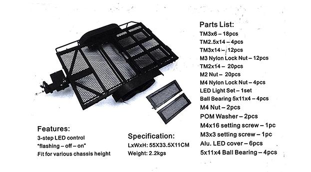 Remolque CJG para Rock Crawler 1/10 de dos ejes
