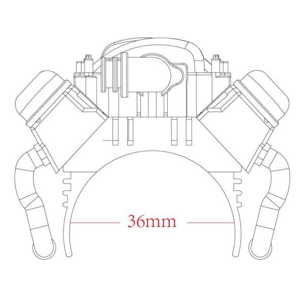 Repuesto KYX Disipador térmico de 36mm con ventilador para SCX10 II y TRX-4