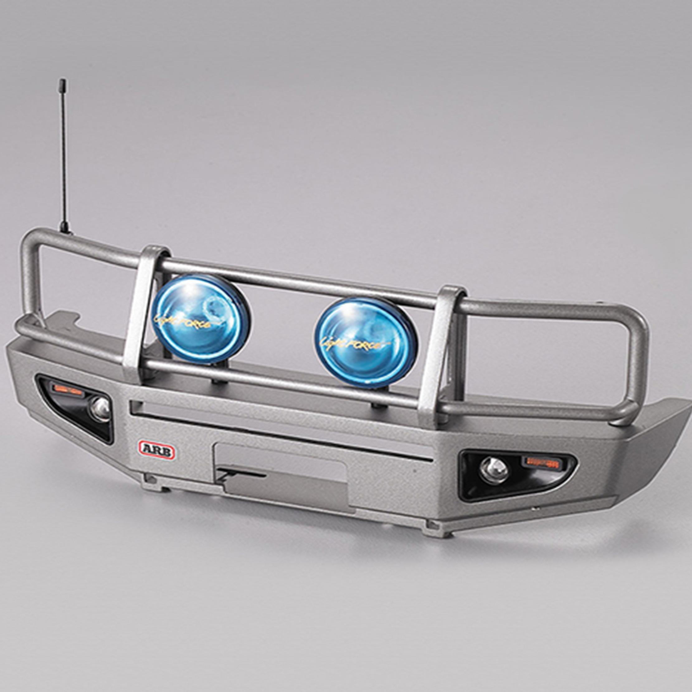 Repuesto Parachoques delantero con faros LED aluminio plateado para camión 1/10